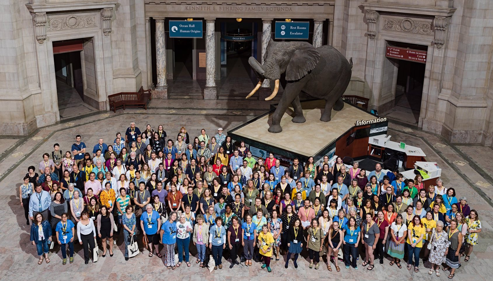 50th Anniversary Conference Group Photo at the Smithsonian National Museum of Natural History. Photo Credit: James Di Loreto, Kate D. Sherwood, and Lucia RM Martino, Smithsonian Institution
