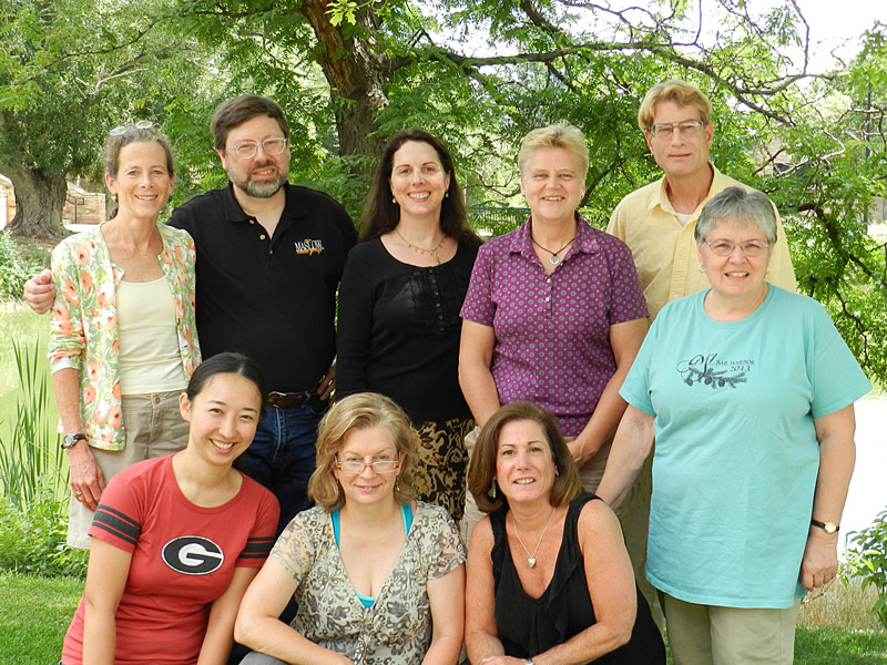 2014-2015 GNSI Board - left to right, back: Marj Leggitt, Britt Griswold, Sara Taliaferro, Virge Kask, Scott Rawlins, Gail Guth; left to right, front: Ikumi Kayama, Amelia Janes, Leslie Becker