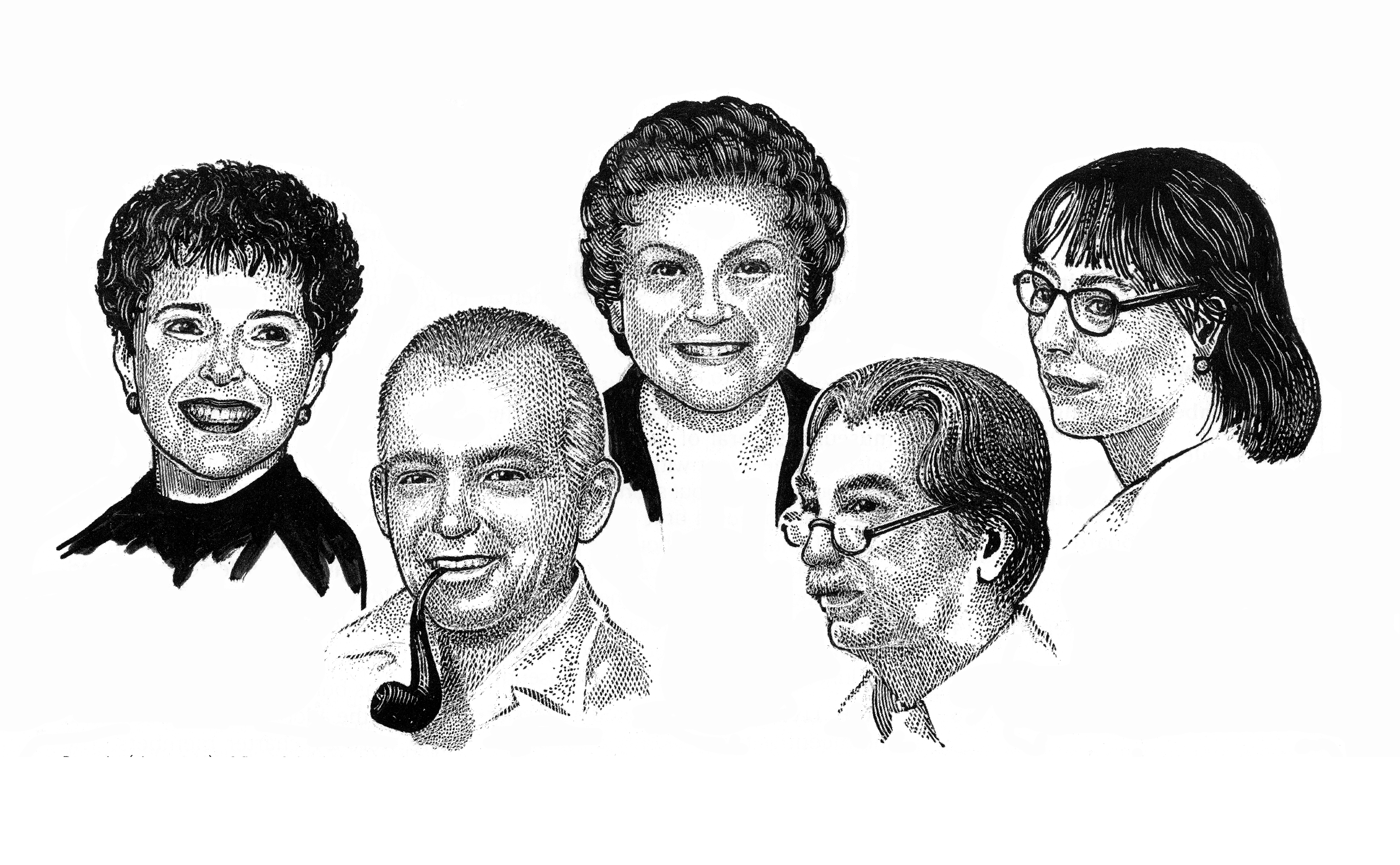 Portraits (circa 1968) of some of the founders and first officers of GNSI – from left to right: Elaine R.S. Hodges, Art Cushman, Elsie Froeschner, Larry Isham and Carolyn Bartlett Gast. Illustration by Trudy Nicholson.
